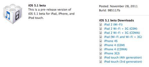 Apple выпустила бета-версию прошивки IOS 5.1 для разработчиков