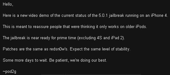 Отвязанный джейлбрейк iOS 5.0.1 на iPhone 4. Новое видео от Pod2g [Видео]