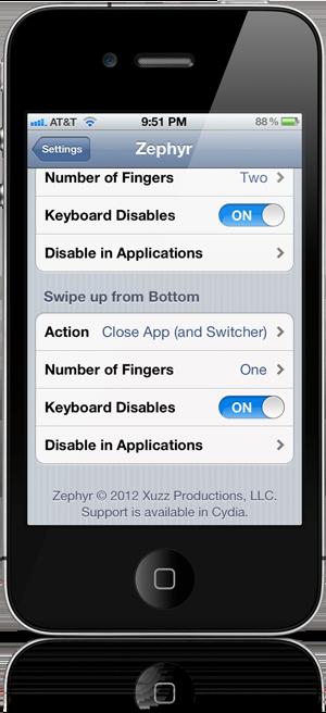 Zephyr 1.1 для iPhone и iPod Touch теперь может закрывать приложения [Видео / Обзор]