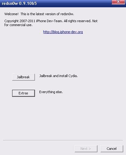 Скачать Redsn0w 0.9.10b5 для отвязанного джейлбрейка iOS 5.0.1.