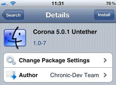 Corona 5.0.1 Untether 1.0-7 скачать из Cydia deb