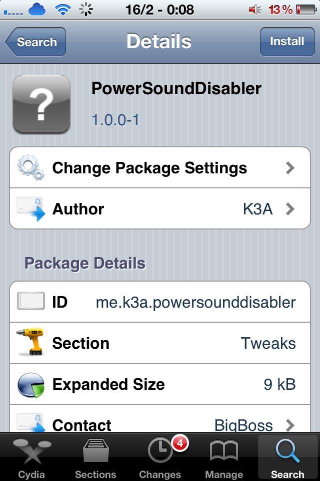 PowerSoundDisabler позволяет отключить вибрацию и звук при подключении i-устройства к источнику питания [Cydia / Скачать]