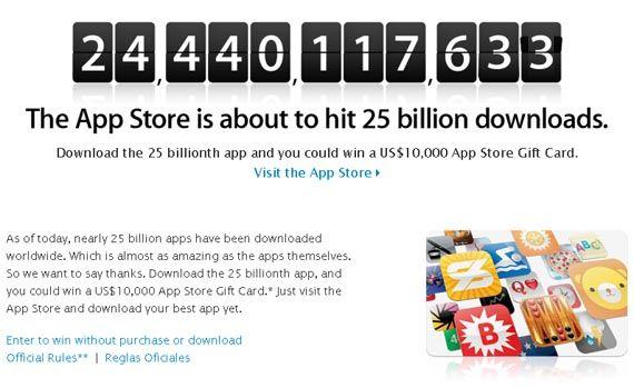 000 тому, кто скачает 25-ти миллиардное приложение из App Store