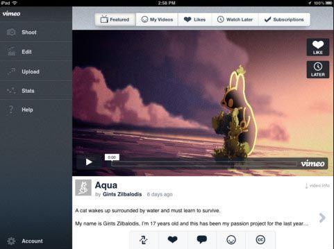 Vimeo для iPhone и IPad с функцией редактирования видео [Обзор / Скачать / App Store]