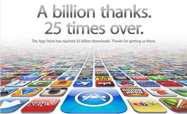 Миллиард благодарностей. 25 раз! Из App Store загружено 25 миллиардное приложение!