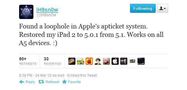 Хакер iH8sn0w нашел способ понижения (downgrade) с iOS 5.1 до iOS 5.0.1 на iPhone 4S и IPad 2 для осуществления отвязанного джейлбрейка