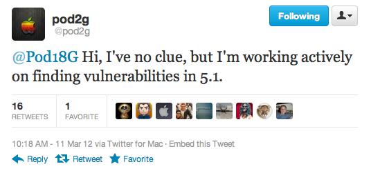 Pod2g приступил к поиску уязвимости для отвязанного джейлбрейка iOS 5.1