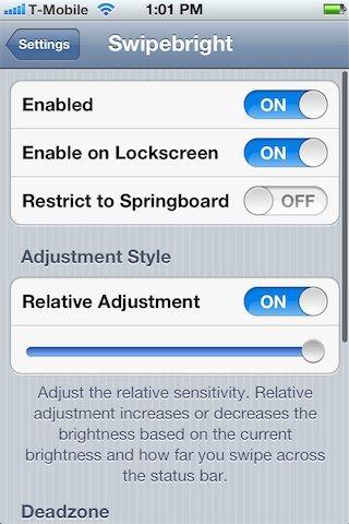 Твик Swipebright отрегулирует яркость подсветки экрана простым свайпом iPhone, iPod, iPad [Скачать / Cydia / Обзор]
