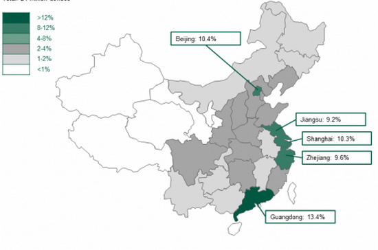 Почти все пользователи iOS в Китае - жители крупных городов
