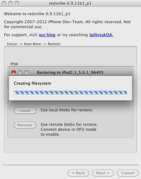 Redsn0w 0.9.11 позволит понижать (downgrade) версию прошивки с iOS 5.1.1 и iOS 5.1 до iOS 5.0.1 на iPhone 4S, iPad 2, iPad 3