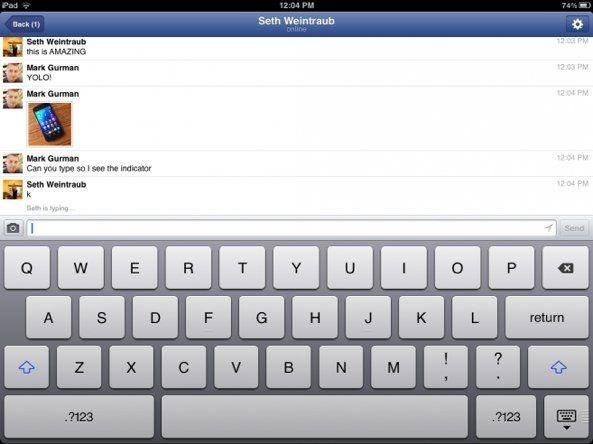 Facebook тестирует чат для iPad с функцией видео-звонков Skype