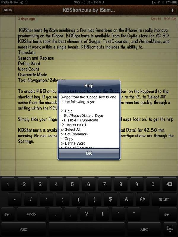 Джейлбрейк-твик KBShortcuts делает набор текста на iOS-клавиатуре намного удобнее [Скачать / Cydia / Обзор]