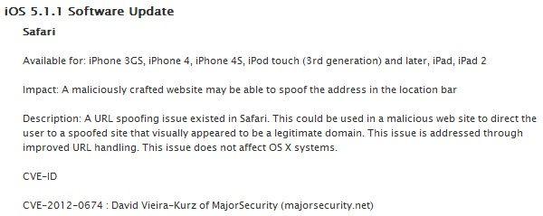 iOS 5.1.1: устранена уязвимость Safari