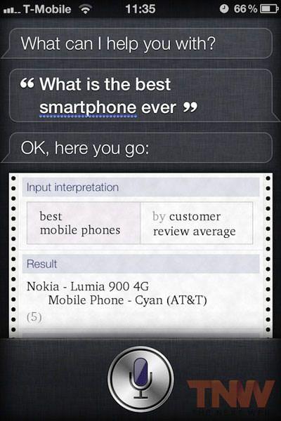 Siri уже не считает Nokia Lumia 900 лучшим смартфоном в мире