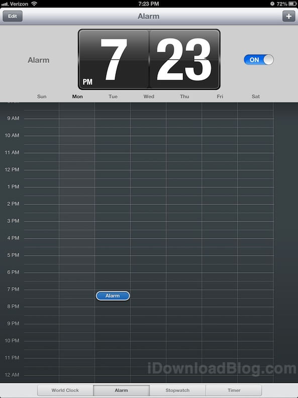 Новое в iOS 6: стандартное приложение Часы (Clock) для iPad [Фото]