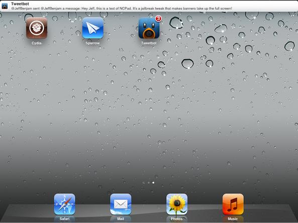 Твик NCPad увеличивает размер уведомлений на Springboard в iPad [Cydia / Обзор / Скачать]