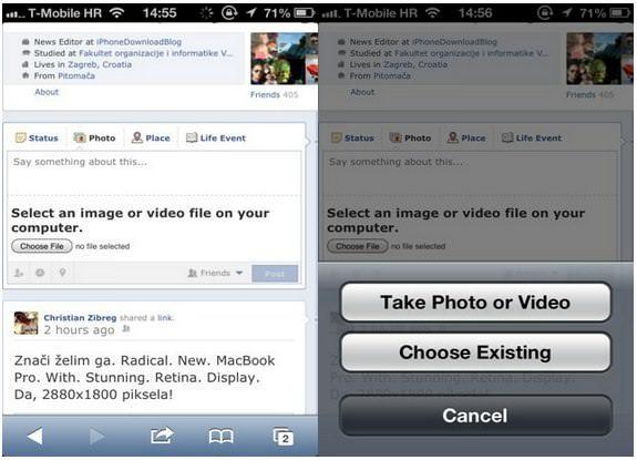 Новое в iOS 6: Safari позволяет загружать медиаконтент в интернет
