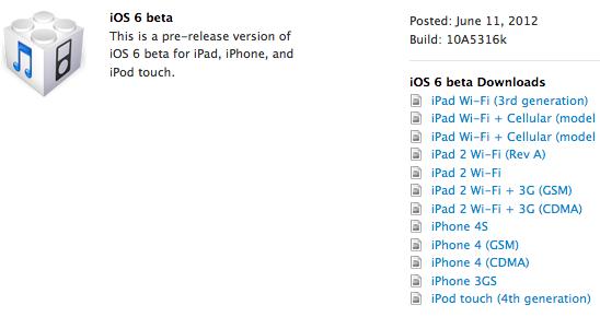 Скачать iOS 6 beta для IPad 3, IPad 2, iPhone 4S, iPhone 4, iPhone 3GS и iPod Touch 4 [Для разработчиков]