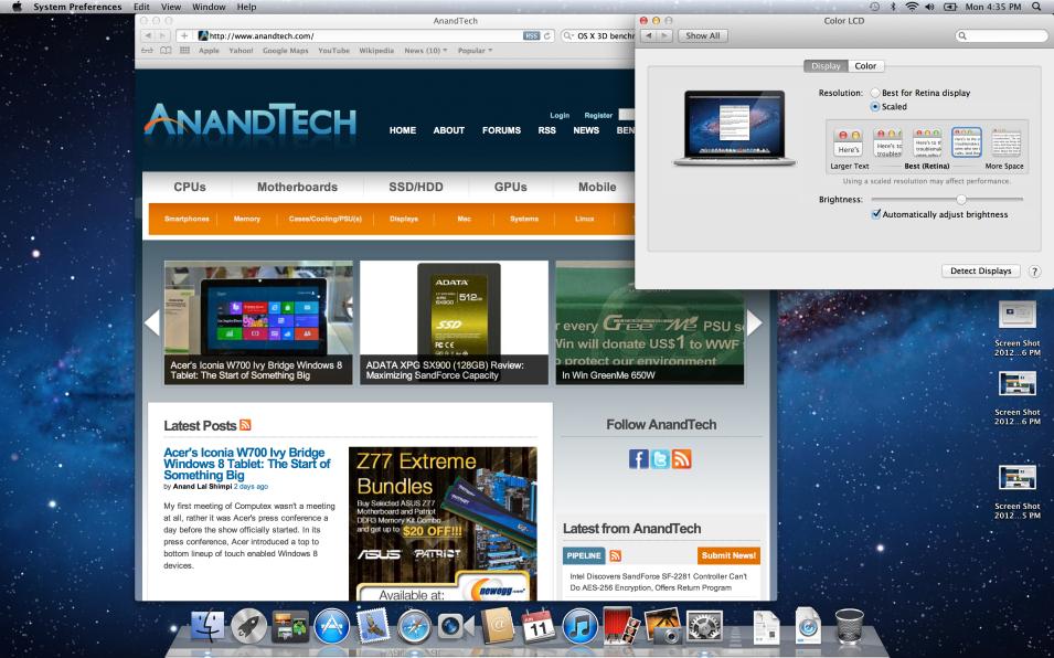 MacBook Pro с дисплеем Retina. Знакомство с экраном и бенчмарк тесты [Обзор / Фото]