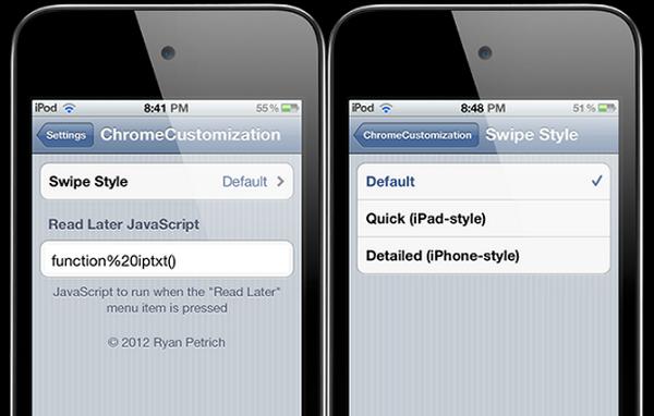 ChromeCustomize еще один твик для расширения возможностей Chrome на iOS [Cydia / Обзор / Скачать]