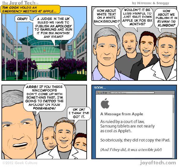 Компания Apple не будет извиняться перед Samsung до октября