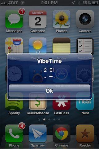 Твик VibeTime сообщит, который час с помощью вибрации [Cydia / Обзор / Скачать]
