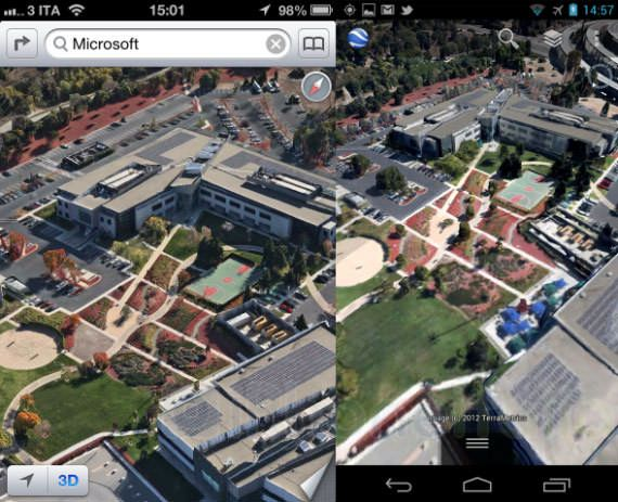 Сравнение 3D карт iOS 6 и Android 4.1 [Фото]