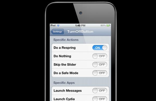 """Твик TurnOffButton меняет действие кнопки """"Power"""" в iPhone, iPod или iPad"""