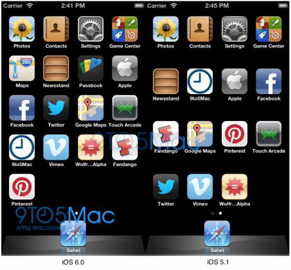 В iOS 6 на iPhone 5 будет пять рядов иконок на главном экране (Springboard)?