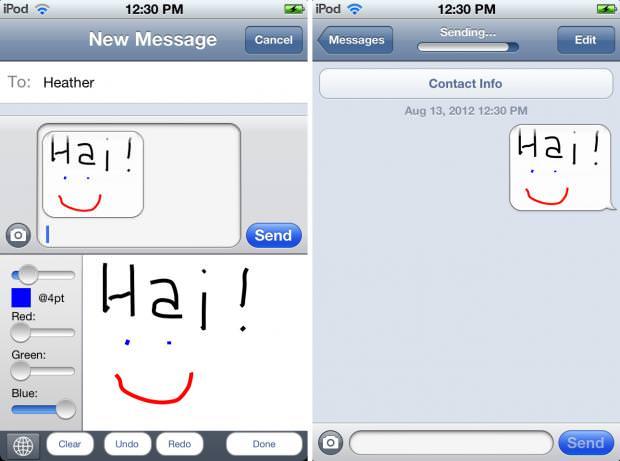 Твик Grafiti - рисование от руки в текстовых сообщениях iMessage