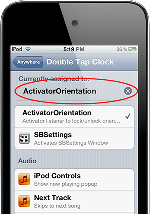 Orientation Activator позволит включить или выключить блокировку экрана устройства через Activator