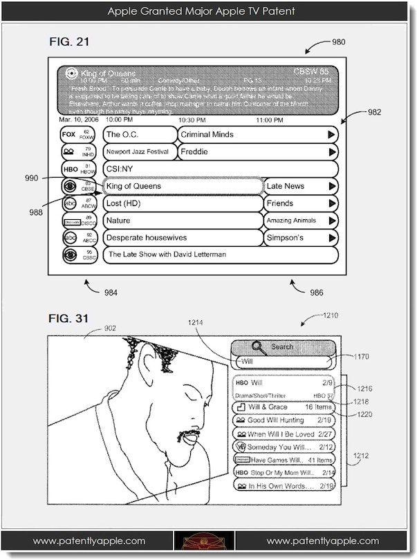 Apple TV. Apple получила два патента, связанных с телевидением