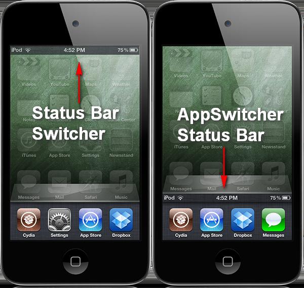Status Bar Switcher и App Switcher Status Bar - статусбар в режиме многозадачности на iPhone, IPad, iPod Touch