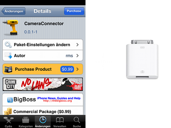 Как подключить Camera Connection Kit к iPhone, IPad и iPod с твиком CameraConnector