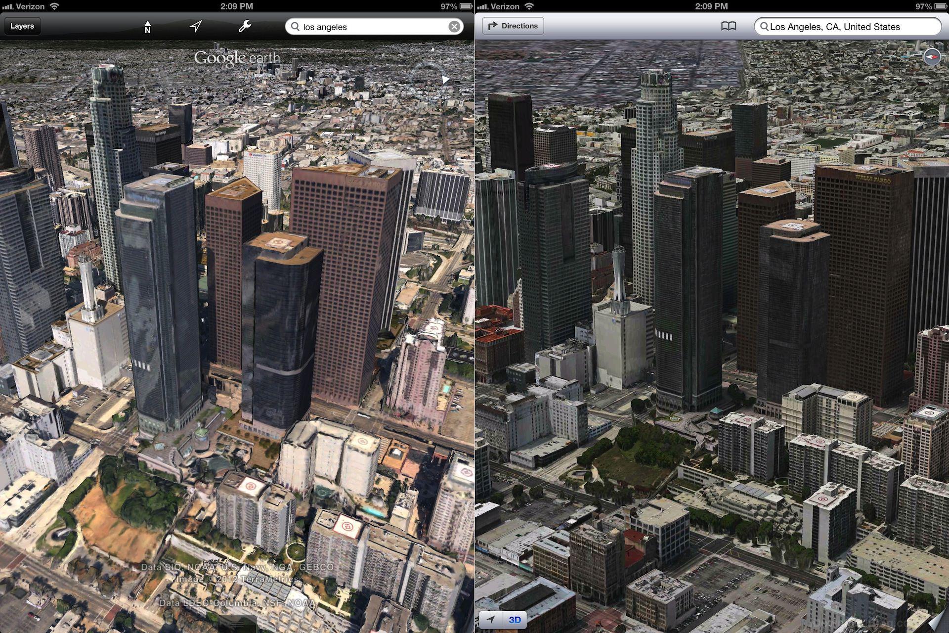 Карты Apple выглядят лучше, чем у Google. Добавлены новые города [Фотосравнение]