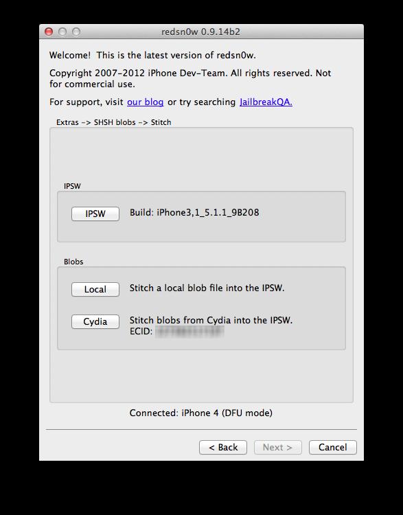 Как сделать даунгрейд (понижение прошивки) с iOS 6 до iOS 5.1.1 с помощью Redsn0w