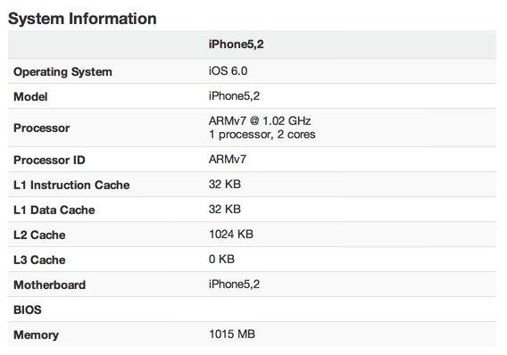Первые результаты Geekbench-тестов iPhone 5 показывают, что частота процессора A6 составляет 1 Гц