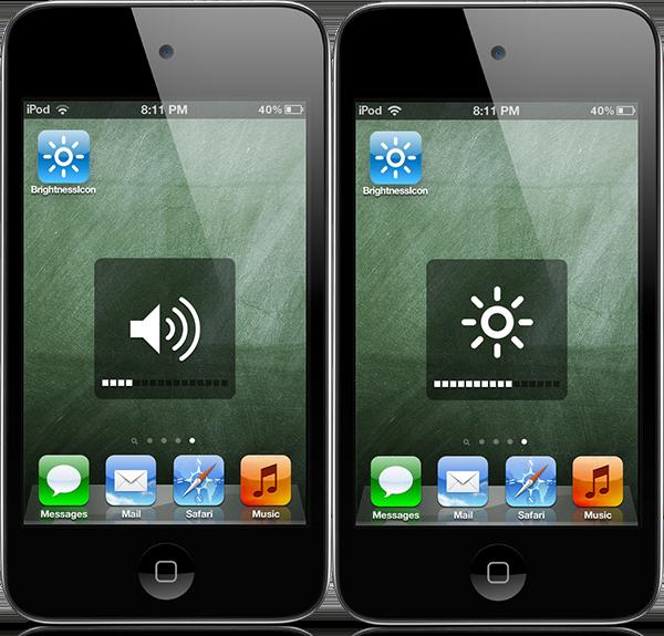 Твик BrightnessIcon предлагает довольно интересный способ регулировки яркости в iOS
