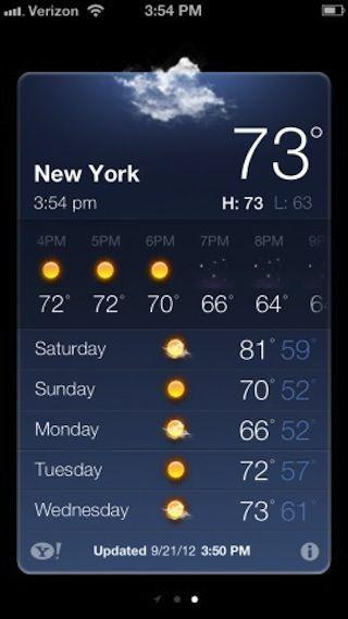Приложение Погода в iOS 6 теперь показывает время