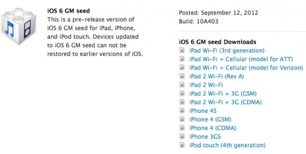 Apple выпустила IOS 6 Golden Master для разработчиков