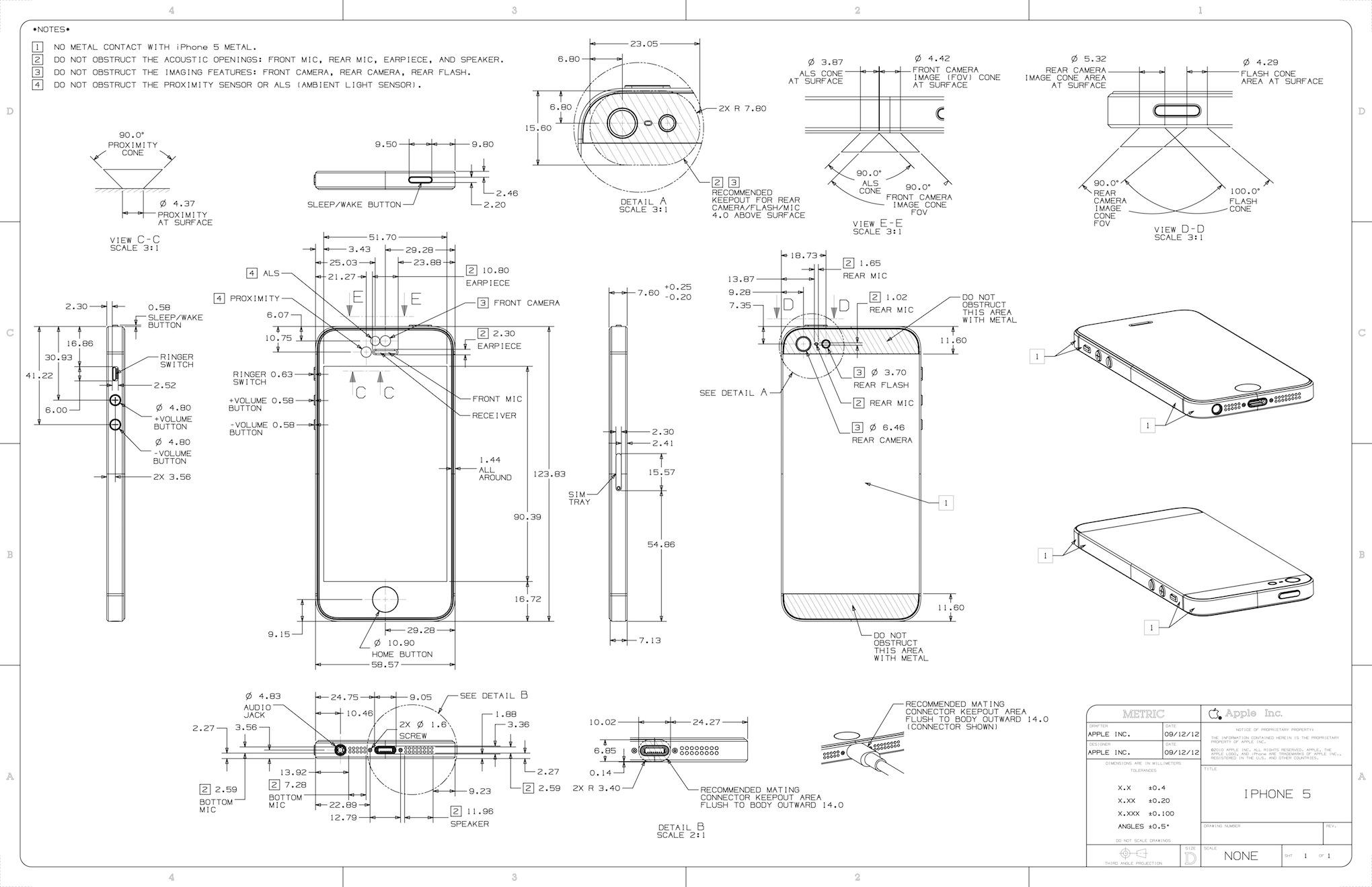 Apple опубликовала чертежные схемы iPhone 5
