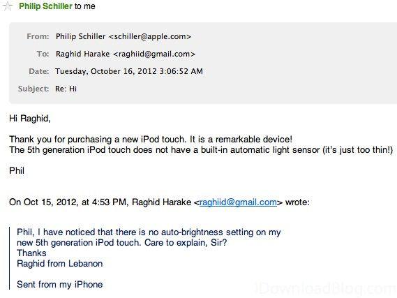 Фил Шиллер пояснил причины отсутствия датчика освещенности в iPod Touch 5G
