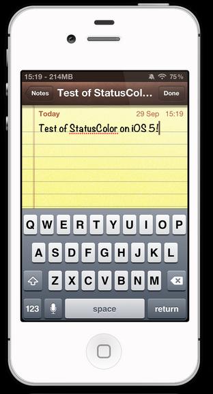"""Джейлбрейк-твик StatusColor активирует статус бар """"хамелеон"""" из iOS 6 в iOS 5"""