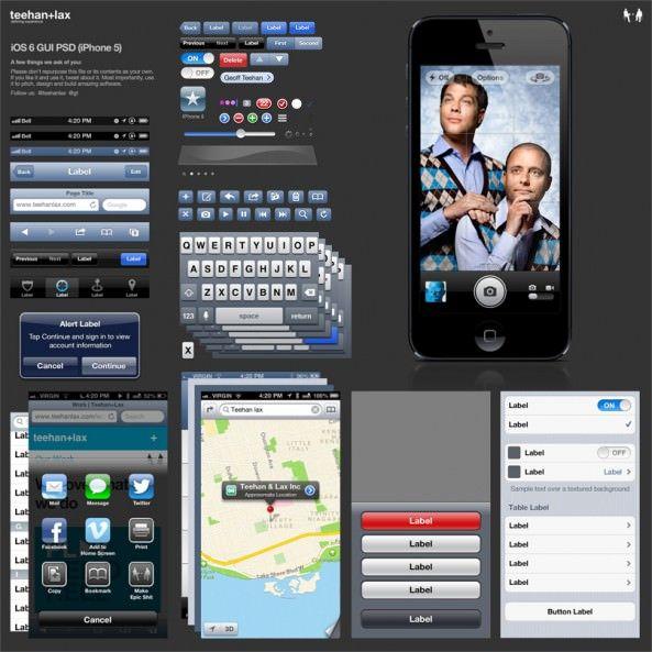 Весь графический интерфейс пользователя (GUI) iOS 6 доступен для скачивания