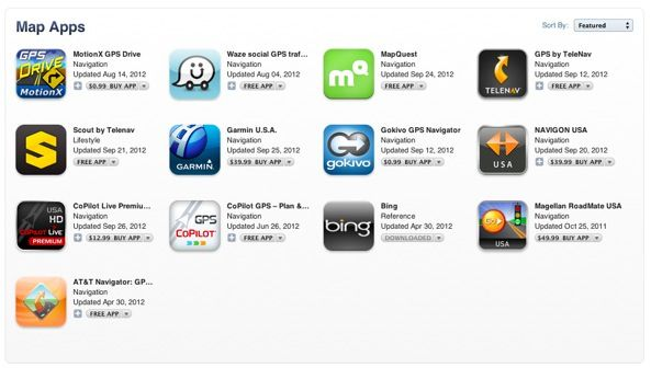 Apple предлагает альтернативные навигационные приложения в специальном разделе App Store