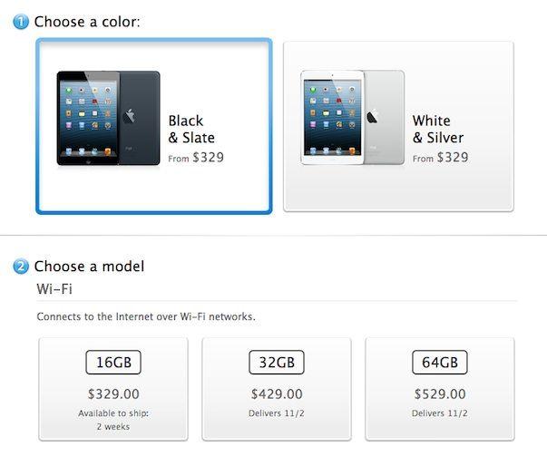 Все начальные запасы черных iPad mini 16 Гб проданы