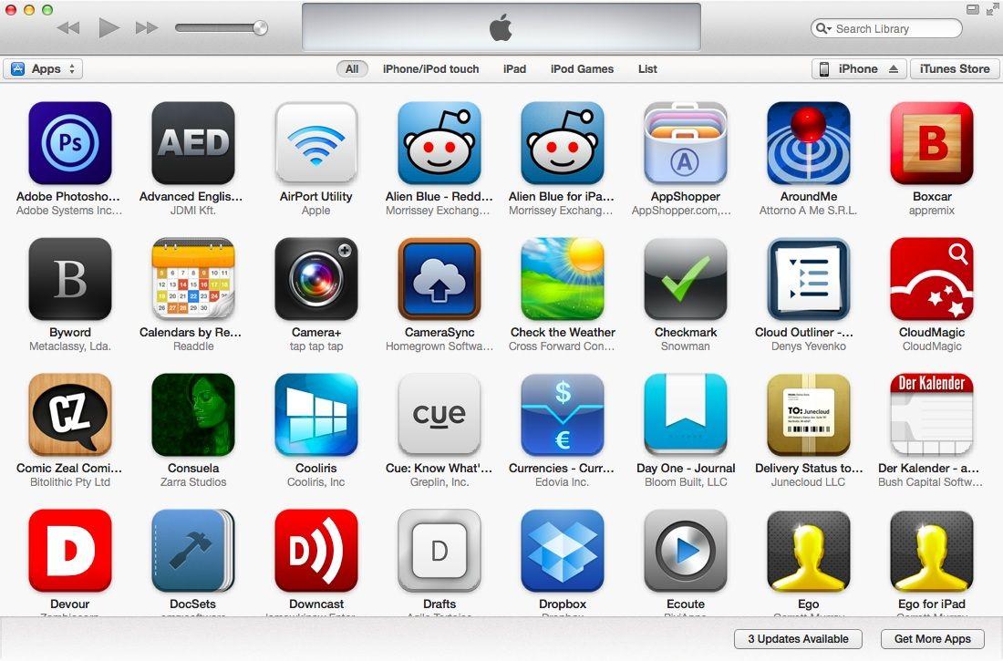 Вид на имеющиеся приложения в iTunes 11