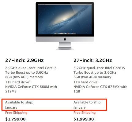 Поставки 27-дюймовых новых iMac отложены на январь
