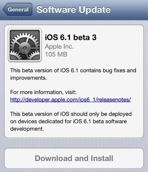 Скачать iOS 6.1 beta 3 для разработчиков