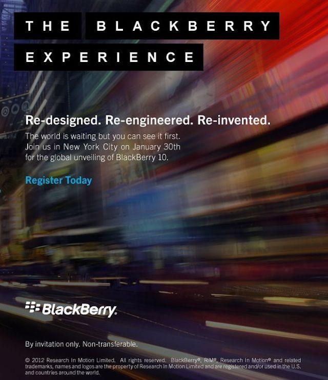 RIM рассылает приглашения на презентацию новых смартфонов Blackberry 10